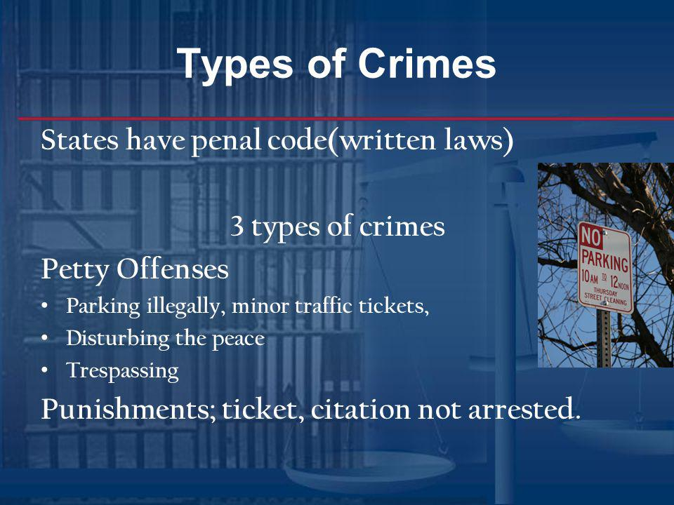Types of Crimes States have penal code(written laws) 3 types of crimes Petty Offenses Parking illegally, minor traffic tickets, Disturbing the peace T