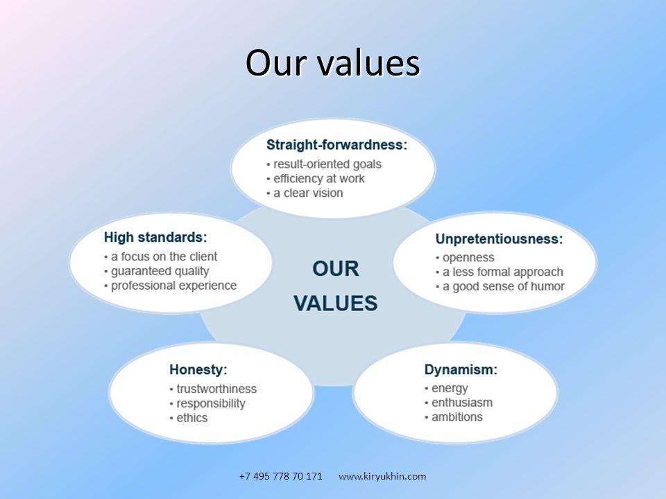 Our values +7 495 778 70 171 www.kiryukhin.com