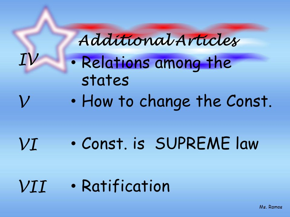 Additional Articles Relations among the states How to change the Const.