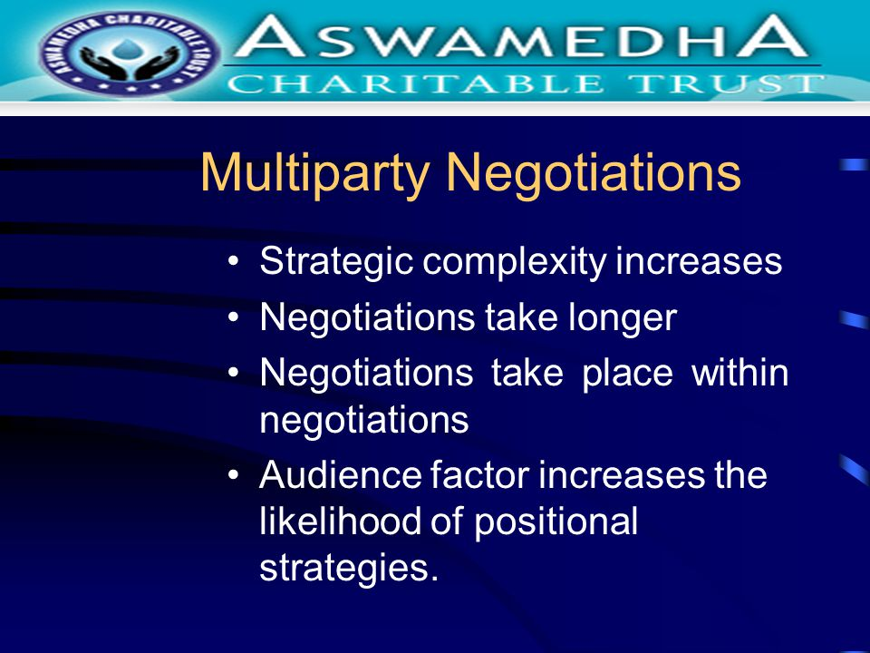Multiparty Negotiations Strategic complexity increases Negotiations take longer Negotiations take place within negotiations Audience factor increases the likelihood of positional strategies.