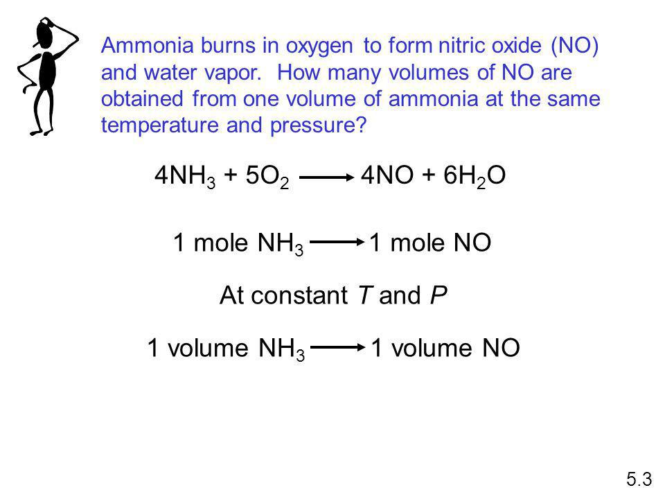 Ammonia burns in oxygen to form nitric oxide (NO) and water vapor.