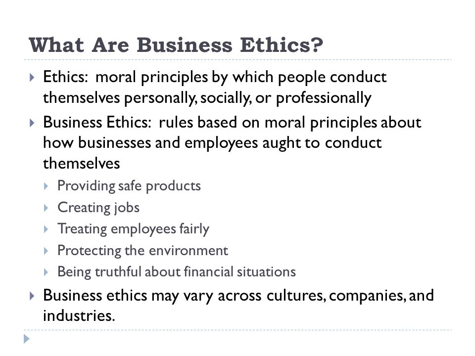 What Are Business Ethics.