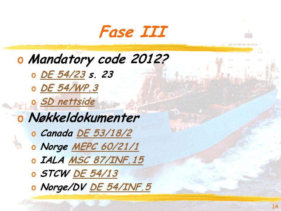 Fase III oMandatory code 2012. oDE 54/23 s.