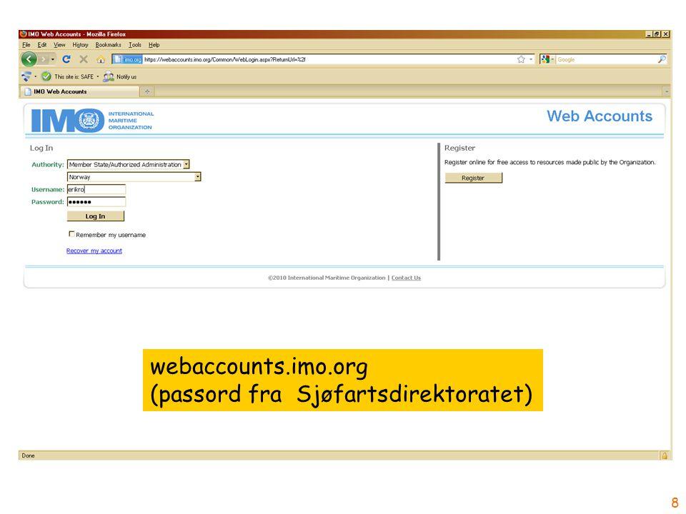 8 webaccounts.imo.org (passord fra Sjøfartsdirektoratet)