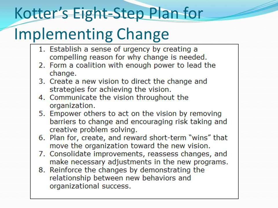 Kotters Eight-Step Plan for Implementing Change