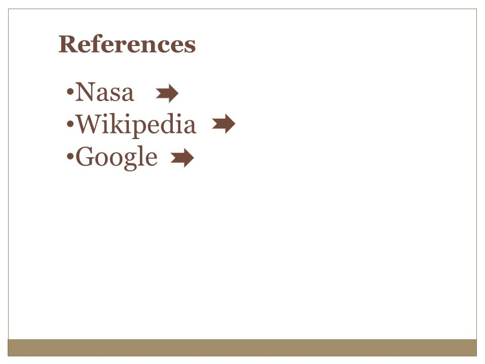 References Nasa Wikipedia Google