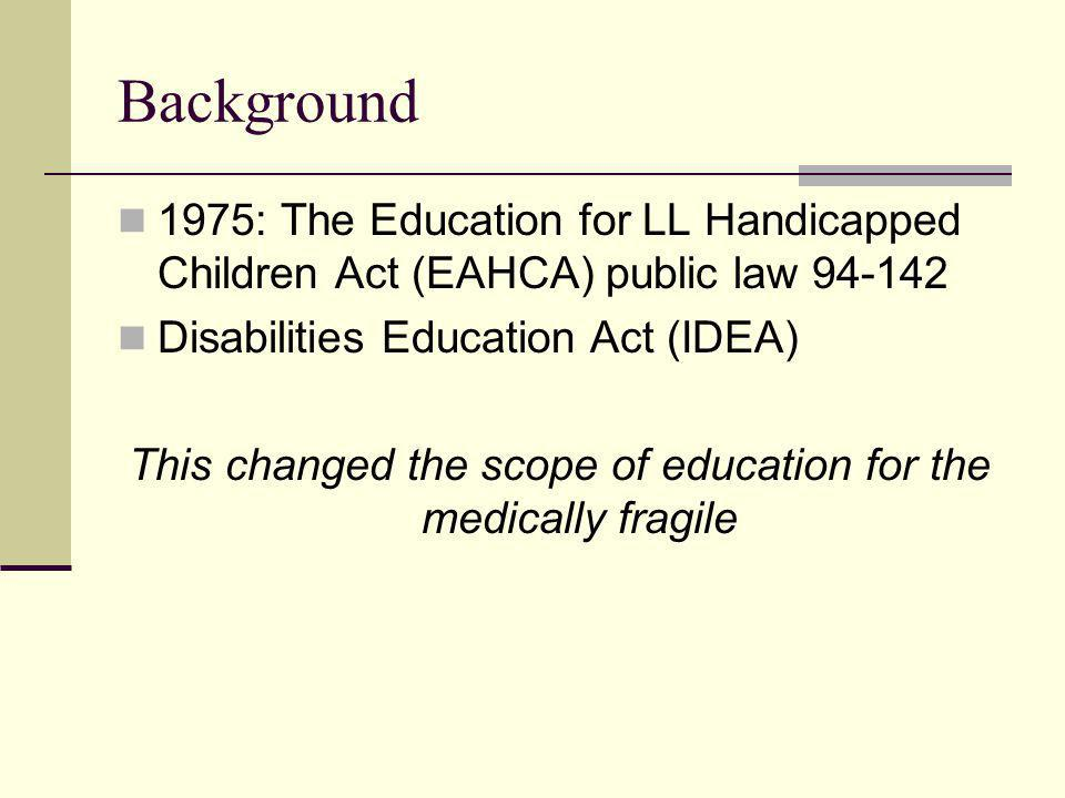 Background 1975: The Education for LL Handicapped Children Act (EAHCA) public law 94-142 Disabilities Education Act (IDEA) This changed the scope of e