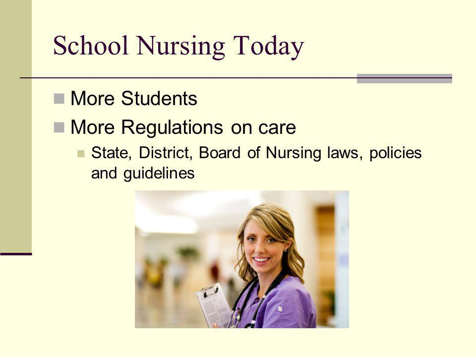 School Nursing Today More Students More Regulations on care State, District, Board of Nursing laws, policies and guidelines