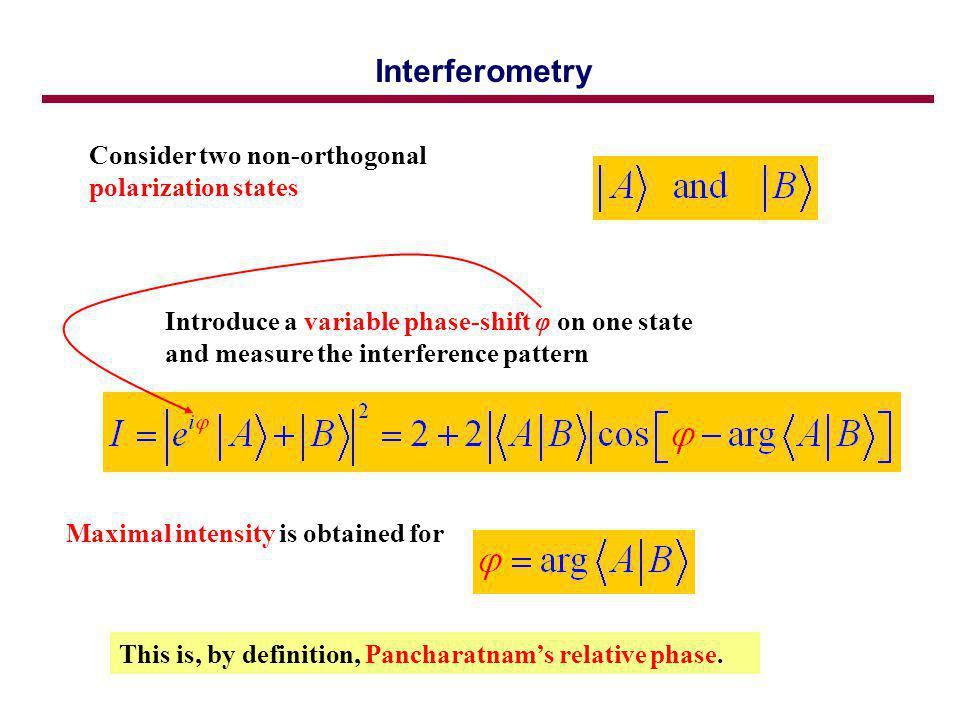 Interferometry Consider two non-orthogonal polarization states Introduce a variable phase-shift φ on one state and measure the interference pattern Maximal intensity is obtained for This is, by definition, Pancharatnams relative phase.