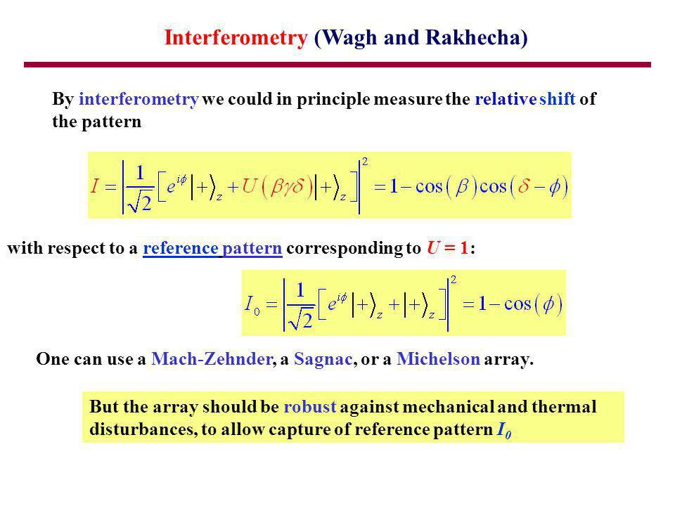 Interferometry (Wagh and Rakhecha) By interferometry we could in principle measure the relative shift of the pattern with respect to a reference pattern corresponding to U = 1: One can use a Mach-Zehnder, a Sagnac, or a Michelson array.