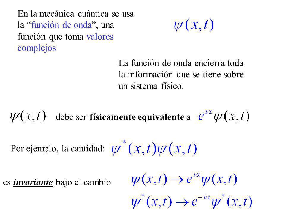 En la mecánica cuántica se usa la función de onda, una función que toma valores complejos La función de onda encierra toda la información que se tiene sobre un sistema físico.