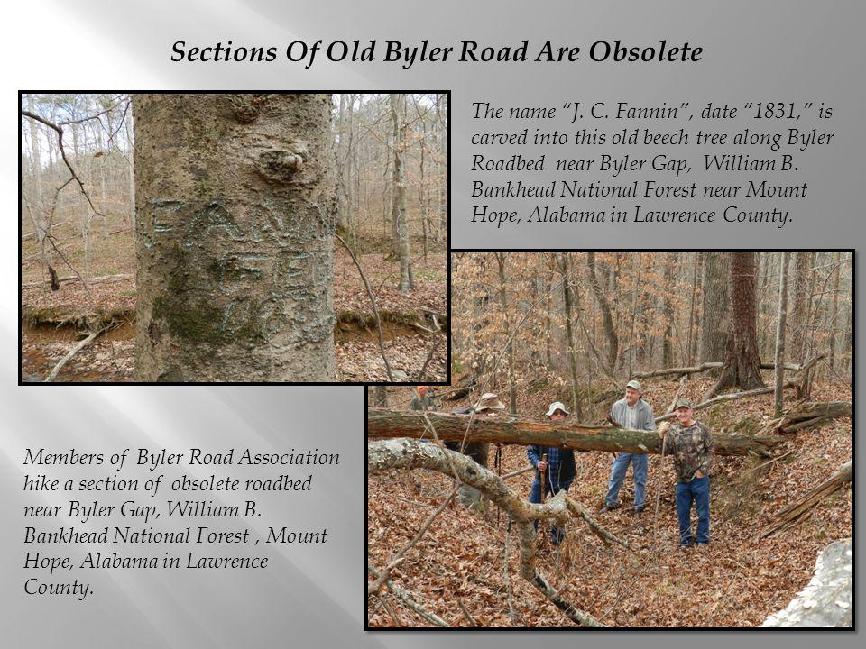Sections Of Old Byler Road Are Obsolete Members of Byler Road Association hike a section of obsolete roadbed near Byler Gap, William B.