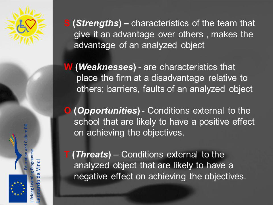 S (Strengths) – characteristics of the team that give it an advantage over others, makes the advantage of an analyzed object W (Weaknesses) - are char