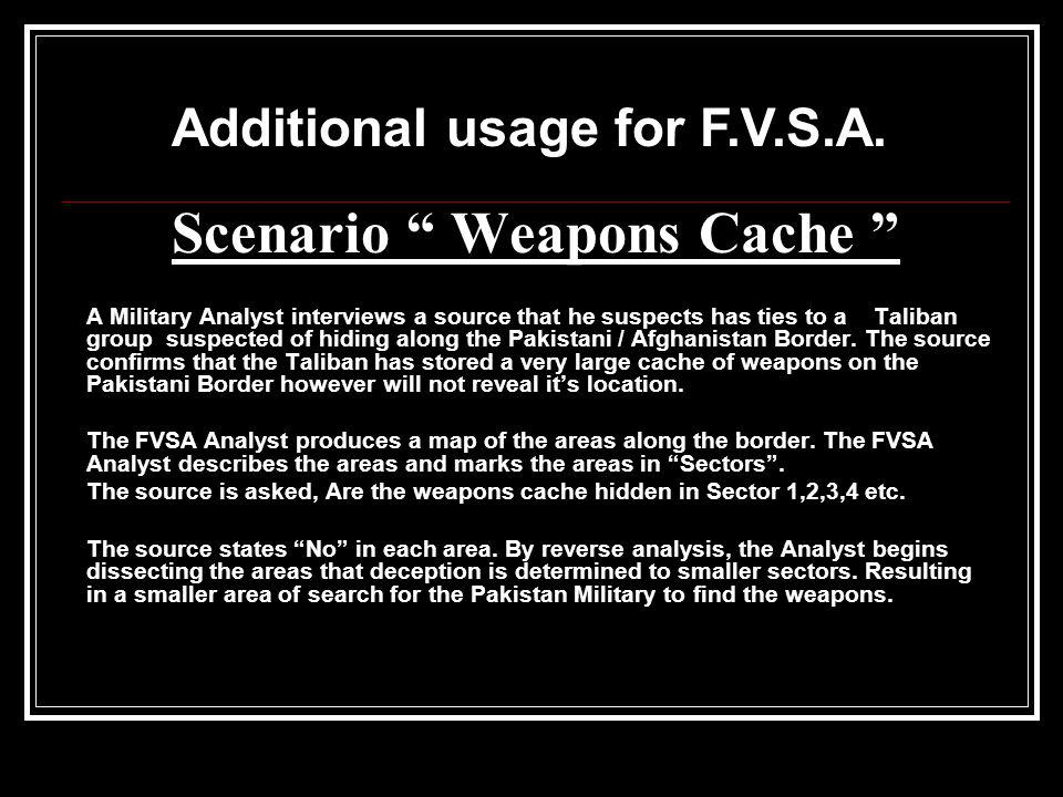 Scenario Weapons Cache A Military Analyst interviews a source that he suspects has ties to a Taliban group suspected of hiding along the Pakistani / A