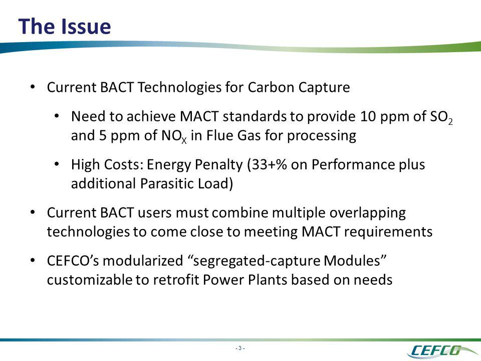 - 3 - The Issue Current BACT Technologies for Carbon Capture Need to achieve MACT standards to provide 10 ppm of SO 2 and 5 ppm of NO X in Flue Gas fo