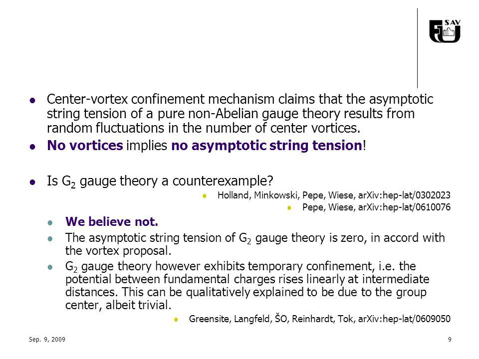Sep. 9, 20099 Center-vortex confinement mechanism claims that the asymptotic string tension of a pure non-Abelian gauge theory results from random flu