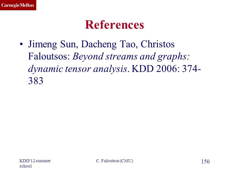 CMU SCS References Jimeng Sun, Dacheng Tao, Christos Faloutsos: Beyond streams and graphs: dynamic tensor analysis.