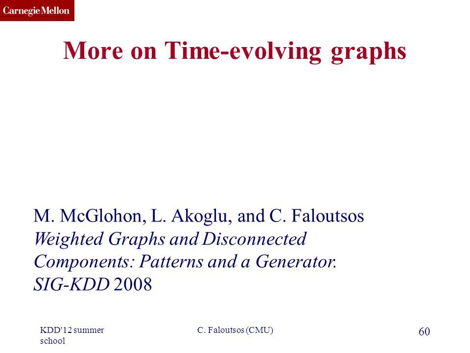 CMU SCS C. Faloutsos (CMU) 60 More on Time-evolving graphs M.