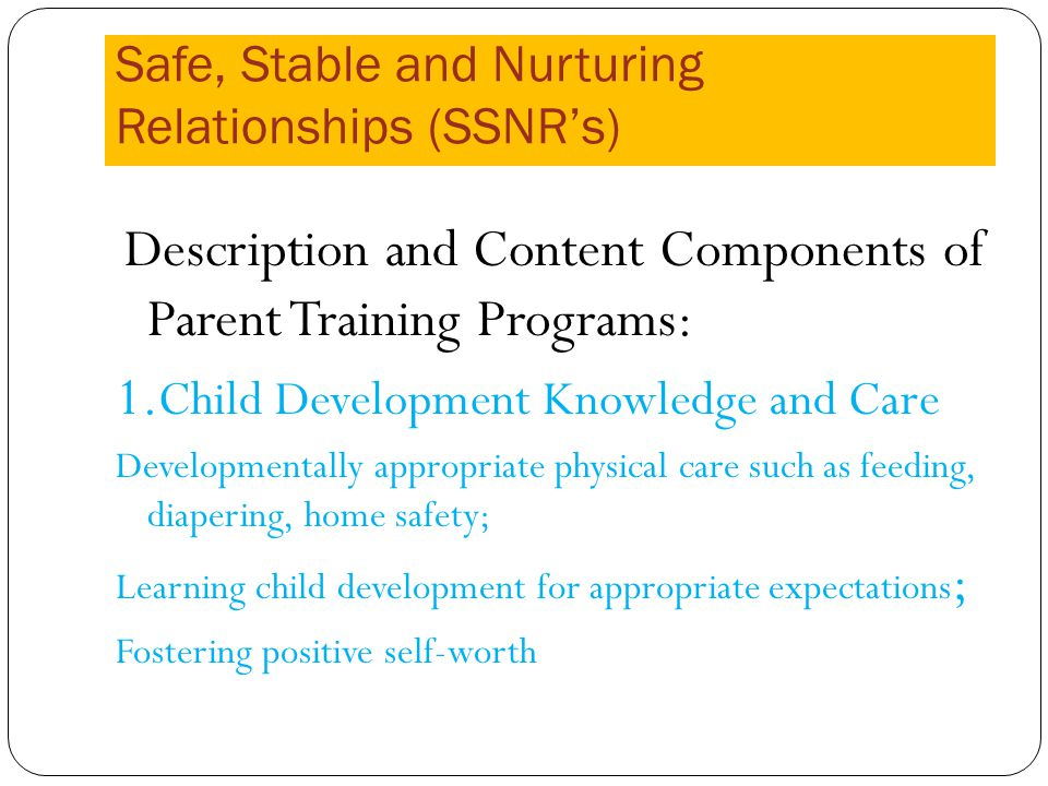 Safe, Stable and Nurturing Relationships (SSNRs) Description and Content Components of Parent Training Programs: 1.