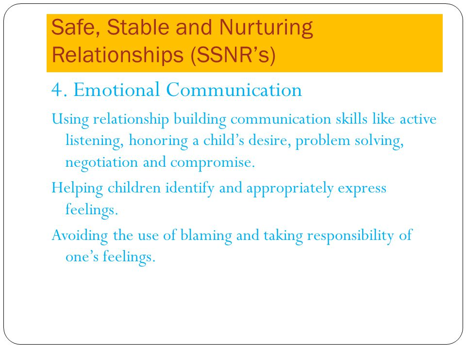 Safe, Stable and Nurturing Relationships (SSNRs) 4.