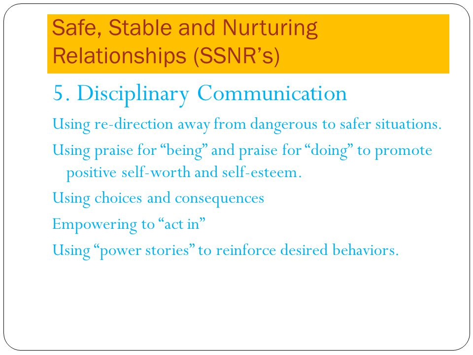 Safe, Stable and Nurturing Relationships (SSNRs) 5.