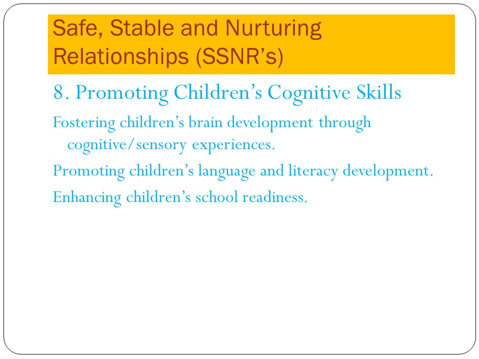 Safe, Stable and Nurturing Relationships (SSNRs) 8.