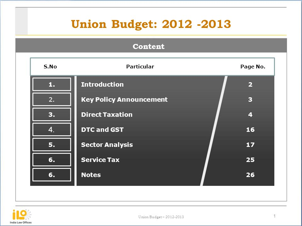 Union Budget – 2012-2013 Union Budget: 2012 -2013 Content 1 S.No Particular Page No. 1. Introduction2 2. 3. 4. 5. 6. 3 4 16 17 25 26 Key Policy Announ