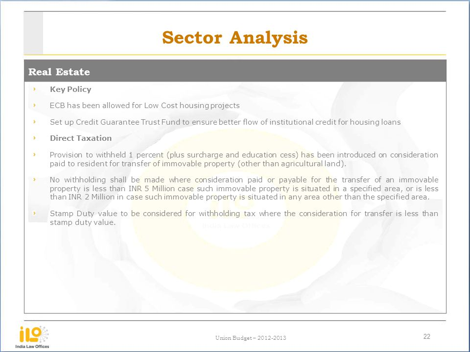Union Budget – 2012-2013 Sector Analysis Real Estate 22 Key Policy ECB has been allowed for Low Cost housing projects Set up Credit Guarantee Trust Fu