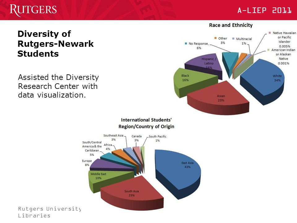 Rutgers University Libraries A-LIEP 2011 Diversity of Rutgers-Newark Students Assisted the Diversity Research Center with data visualization.