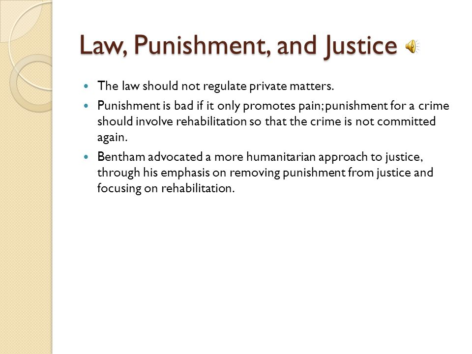 Law, Punishment, and Justice The law should not regulate private matters.