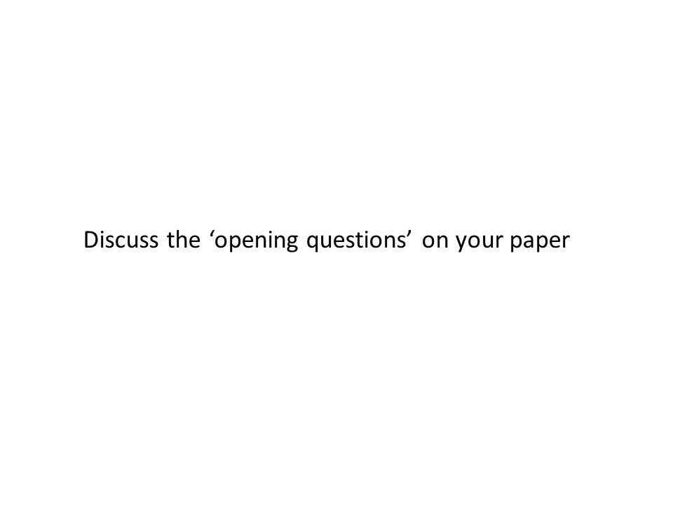 Discuss the opening questions on your paper