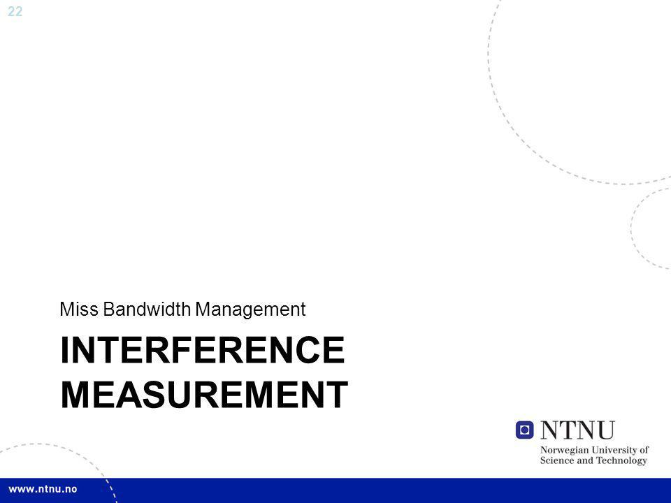 22 INTERFERENCE MEASUREMENT Miss Bandwidth Management