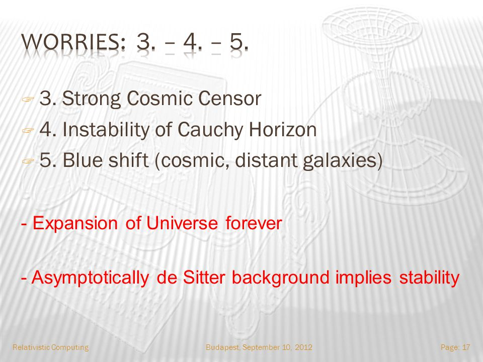 Budapest, September 10, 2012Relativistic ComputingPage: 17 3. Strong Cosmic Censor 4. Instability of Cauchy Horizon 5. Blue shift (cosmic, distant gal