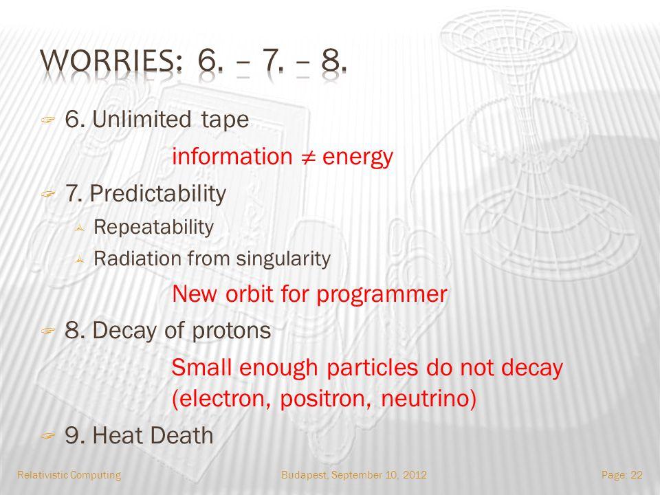 Budapest, September 10, 2012Relativistic ComputingPage: 22 6.