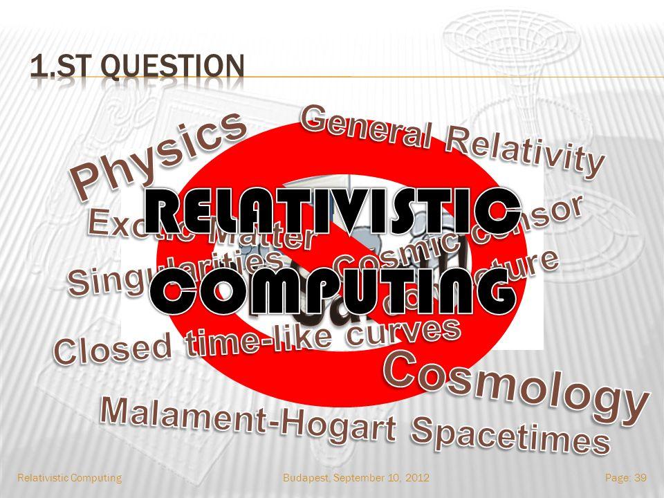 Budapest, September 10, 2012Relativistic ComputingPage: 39
