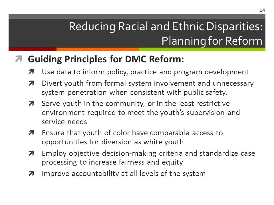 Reducing Racial and Ethnic Disparities: Planning for Reform Guiding Principles for DMC Reform: Use data to inform policy, practice and program development Divert youth from formal system involvement and unnecessary system penetration when consistent with public safety.