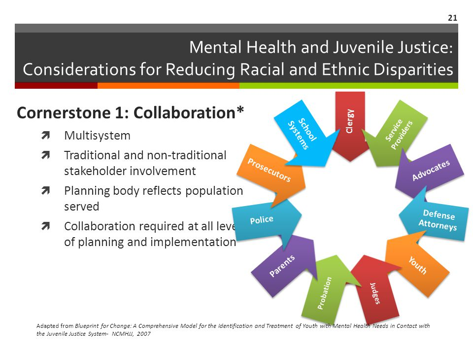 Mental Health and Juvenile Justice: Considerations for Reducing Racial and Ethnic Disparities Cornerstone 1: Collaboration* Multisystem Traditional an