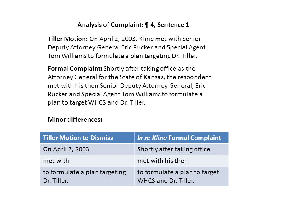 Analysis of Complaint: ¶ 4, Sentence 1 Tiller Motion to DismissIn re Kline Formal Complaint On April 2, 2003Shortly after taking office met withmet with his then to formulate a plan targeting Dr.