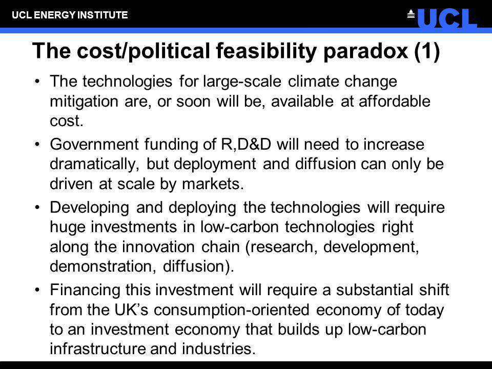 UCL ENERGY INSTITUTE The cost/political feasibility paradox (1) The technologies for large-scale climate change mitigation are, or soon will be, avail