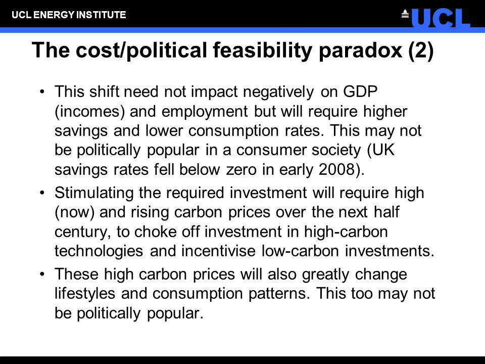 UCL ENERGY INSTITUTE The cost/political feasibility paradox (2) This shift need not impact negatively on GDP (incomes) and employment but will require