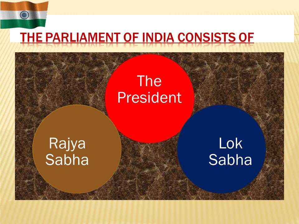 The President Lok Sabha Rajya Sabha