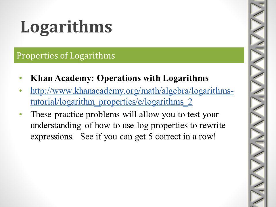 Properties of Logarithms Khan Academy: Operations with Logarithms http://www.khanacademy.org/math/algebra/logarithms- tutorial/logarithm_properties/e/