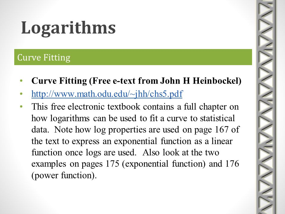 Curve Fitting Curve Fitting (Free e-text from John H Heinbockel) http://www.math.odu.edu/~jhh/chs5.pdf This free electronic textbook contains a full c