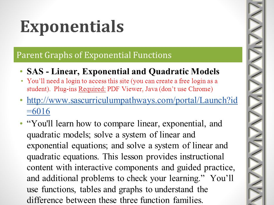 Parent Graphs of Exponential Functions SAS - Linear, Exponential and Quadratic Models Youll need a login to access this site (you can create a free lo