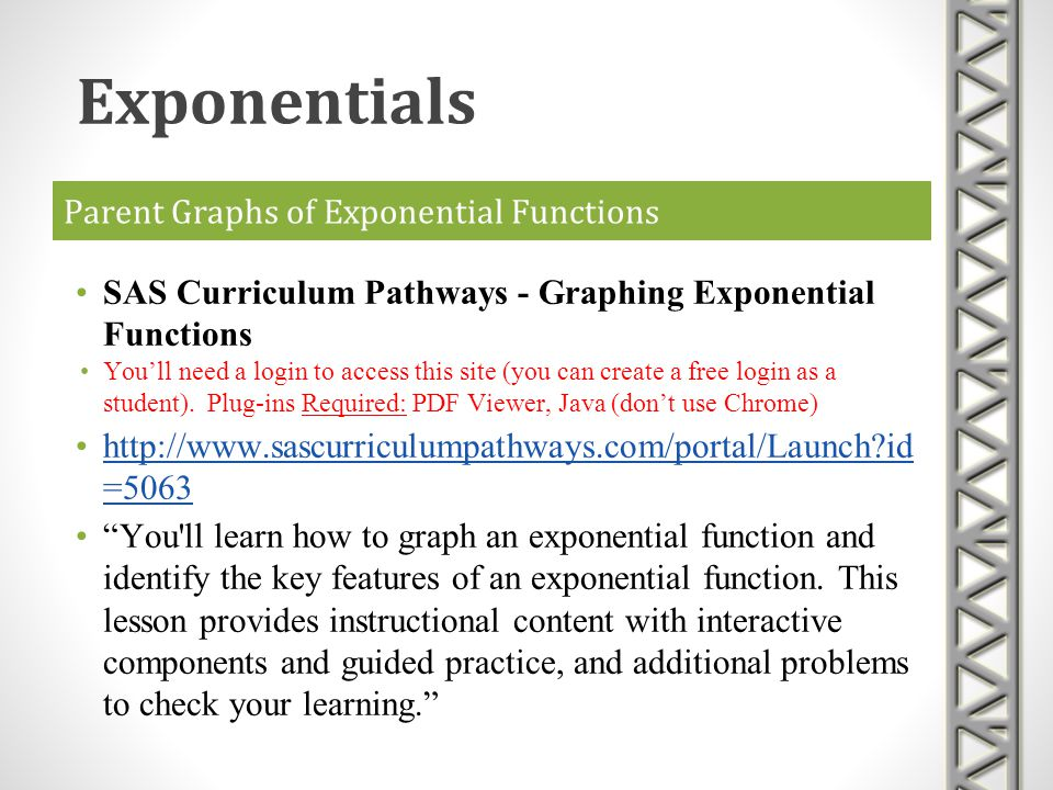Parent Graphs of Exponential Functions SAS Curriculum Pathways - Graphing Exponential Functions Youll need a login to access this site (you can create