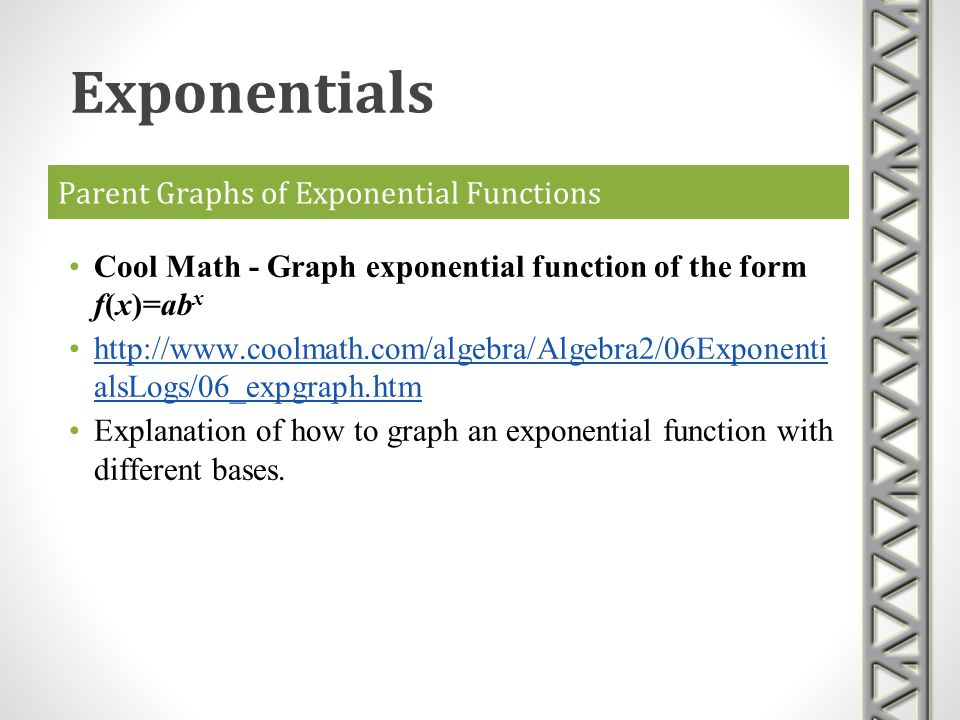 Parent Graphs of Exponential Functions Cool Math - Graph exponential function of the form f(x)=ab x http://www.coolmath.com/algebra/Algebra2/06Exponen