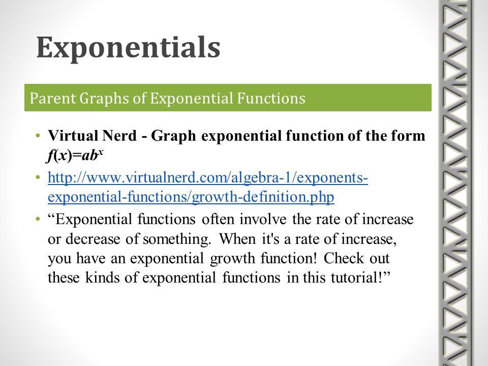 Parent Graphs of Exponential Functions Virtual Nerd - Graph exponential function of the form f(x)=ab x http://www.virtualnerd.com/algebra-1/exponents-