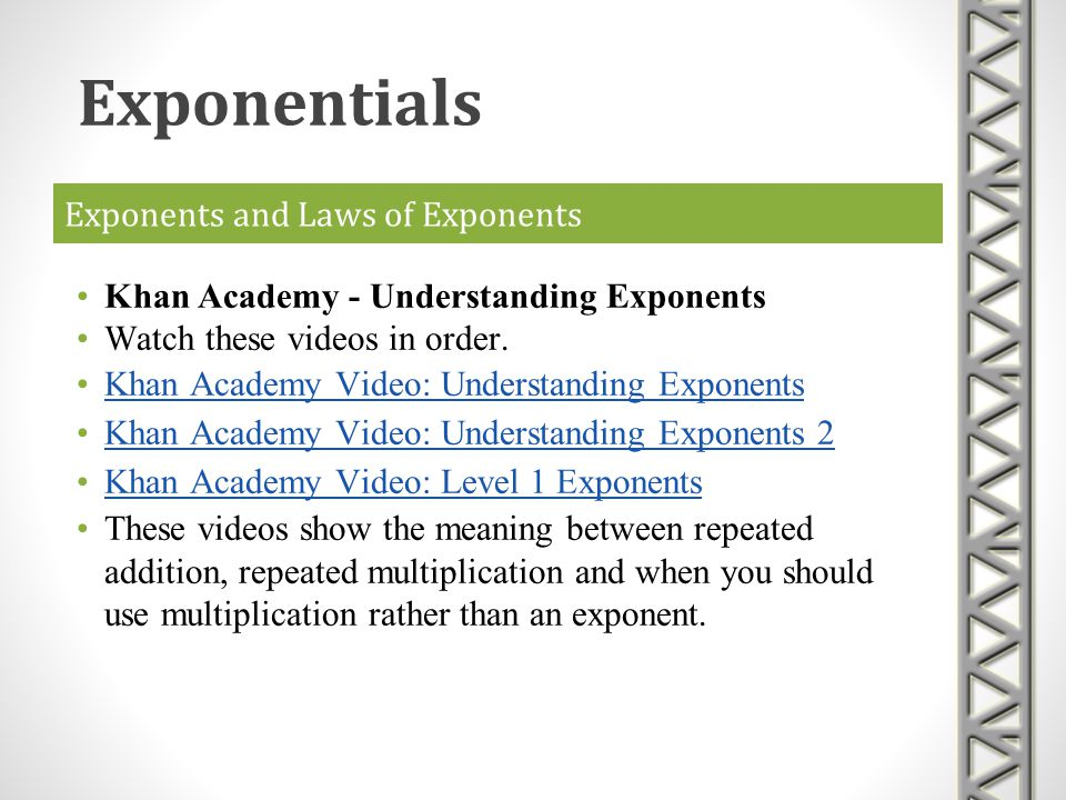 Exponents and Laws of Exponents Brightstorm - Zero and Negative Exponents http://youtu.be/pFW3z7EJZso A video on YouTube from Brightstorm that shows how to simplify products involving zero and negative exponents.
