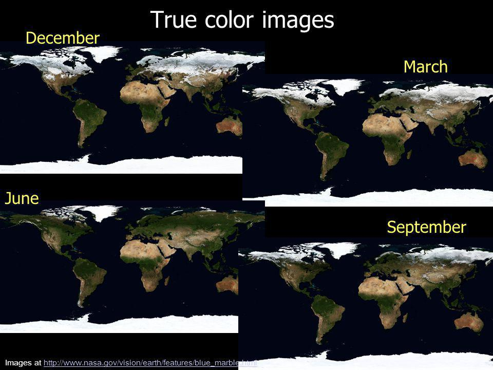 True color images June December March September Images at http://www.nasa.gov/vision/earth/features/blue_marble.htmlhttp://www.nasa.gov/vision/earth/features/blue_marble.html