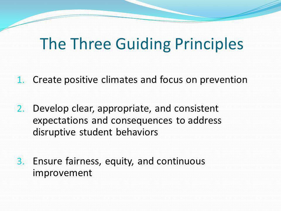 The Three Guiding Principles 1. Create positive climates and focus on prevention 2.